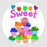 """""""Sweet"""" Cupcake Stack with Bright Hearts Classic Round Sticker"""