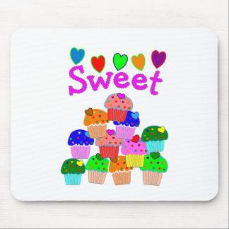 """Sweet"" Cupcake Stack with Bright Hearts Mouse Mat"