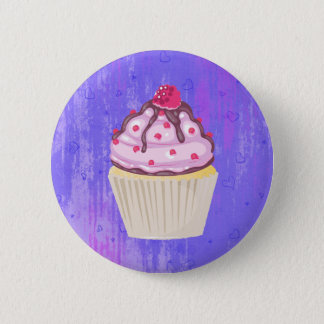 Sweet Cupcake with Raspberry on Top Pinback Button