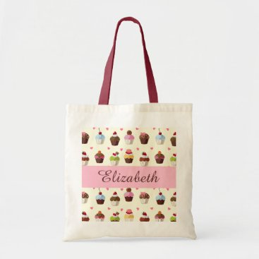 Valentines Themed Sweet Cupcakes and Hearts Tote Bag