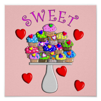 Sweet Cupcakes Art Poster-3D Embossed Style