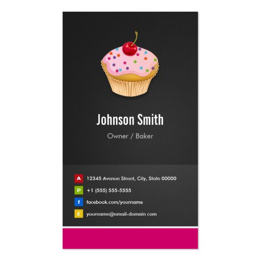 Sweet Cupcakes Bakery - Creative Innovative Business Cards (front side)