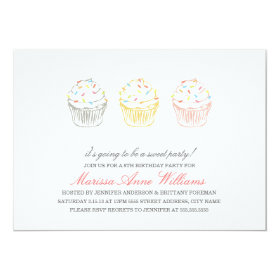 Sweet Cupcakes Birthday Party Invite 5
