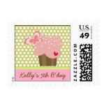 Sweet Cupcakes Butterflies Whimsical Girl Birthday Stamp