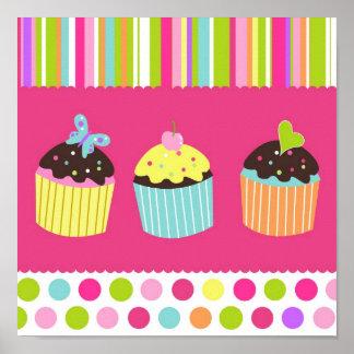 Sweet Cupcakes Nursery Kids Wall Art Print