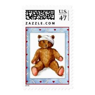 SWEET CUTE BANDAGES & HEARTS TEDDY BEAR Stamps