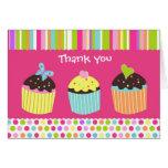 Sweet Cute Cupcake Folded  Thank You Note Card