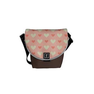 Sweet Cute Love Hearts Seamless Pattern Messenger Bag