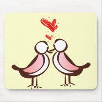 sweet cute lovebirds mouse pad