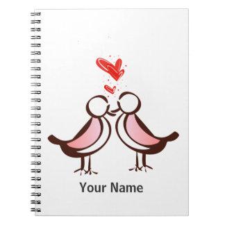 sweet cute lovebirds notebook