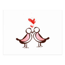 sweet cute lovebirds postcard