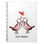 sweet cute lovebirds spiral notebook