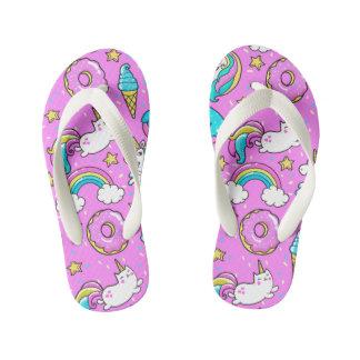 Sweet cute pink unicorn cat sprinkles pattern kid's flip flops