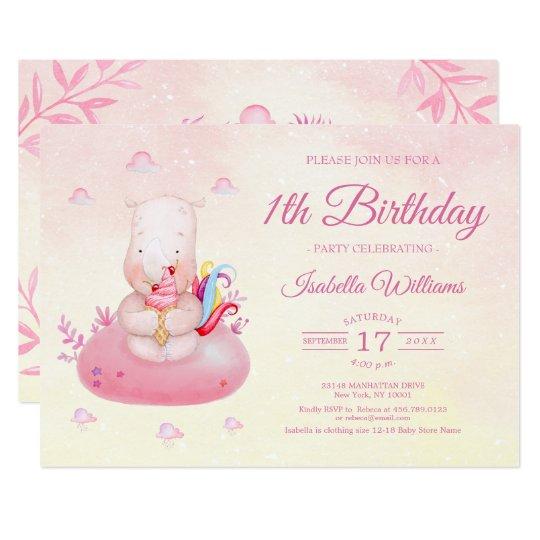 Sweet Cute Unicorn Watercolor Girl First Birthday Invitation