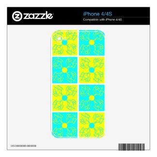 sweet cyan & yellow flower pattern iPhone 4S skins