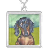 Sweet Dachshund necklace in sterling silver!