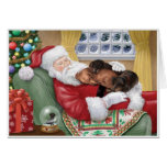 Sweet Dachshunds resting on Santa's Lap Card