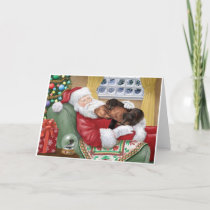Sweet Dachshunds resting on Santa's Lap Holiday Card