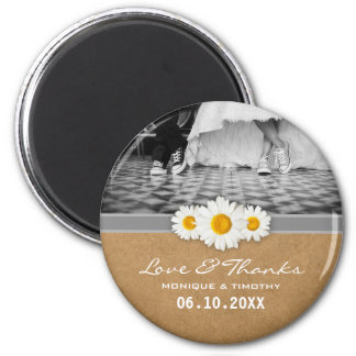 Sweet Daisies Band Wedding Thank You Favor Paper 2 Inch Round Magnet