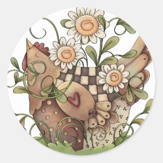 Sweet Daisy Hen Classic Round Sticker