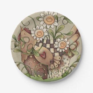 Sweet Daisy Hen Paper Plate