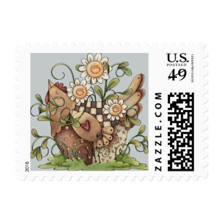 Sweet Daisy Hen Postage Stamps