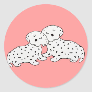 Sweet Dalmation Dreams Round Stickers