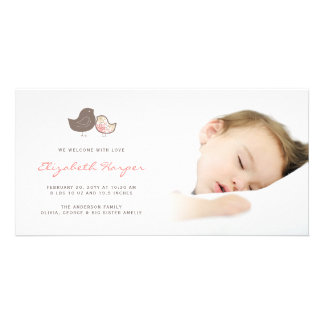 Sweet Damask Chicks Baby Girl Birth Announcement