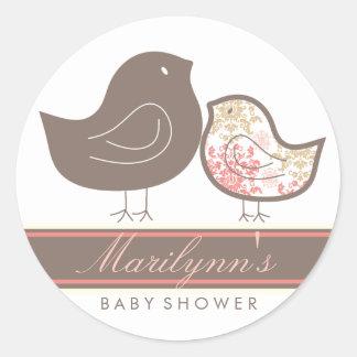 Sweet Damask Chicks Baby Shower Label Sticker
