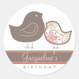 Sweet Damask Chicks Birthday Favors Label Sticker
