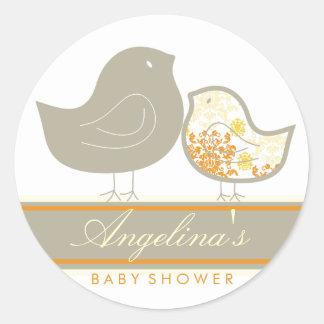 Sweet Damask Chicks Blue Baby Shower Label Sticker