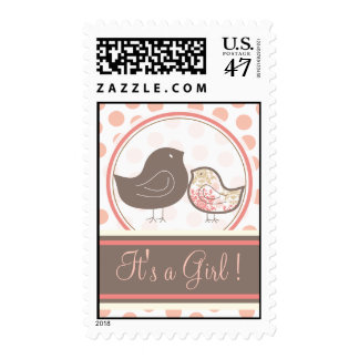 Sweet Damask Chicks Pink Baby Announcement Stamps