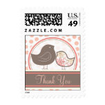 Sweet Damask Chicks Pink Thank You Custom Stamps