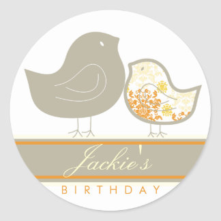 Sweet Damask Chicks Yellow Birthday Label Sticker