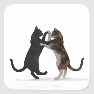 Sweet Dancing Cats Square Sticker