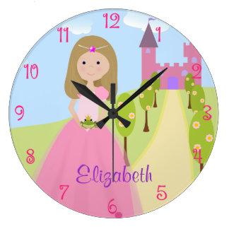 Sweet Dark Blonde Princess Personalized Large Clock