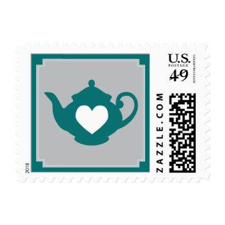 Sweet Dark Teal Teapot Tea Party Postage Stamp