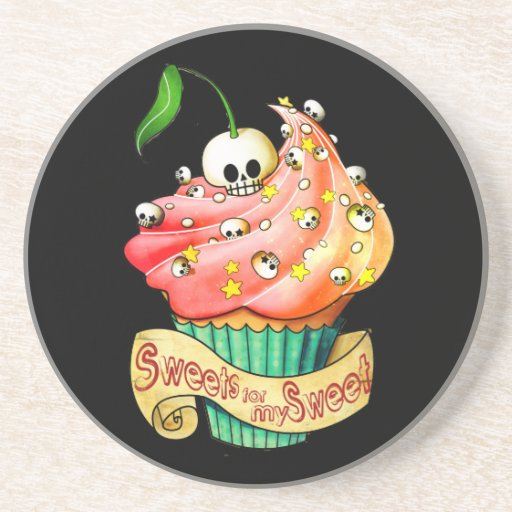 Sweet & Deadly  Skull Cupcake Beverage Coaster