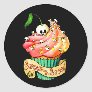 Sweet & Deadly  Skull Cupcake Classic Round Sticker