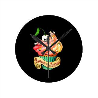 Sweet & Deadly  Skull Cupcake Round Wallclocks