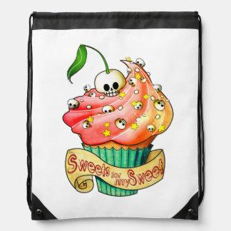 Sweet & Deadly Skull Cupcake Drawstring Backpack