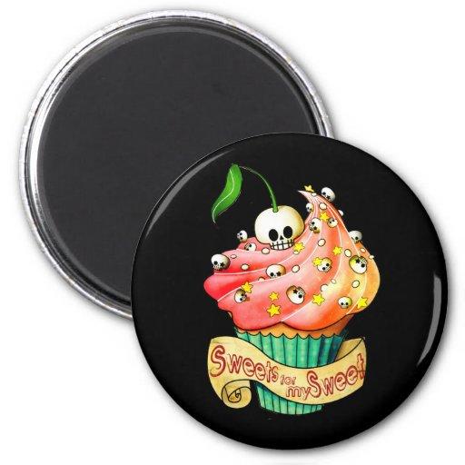Sweet & Deadly  Skull Cupcake Fridge Magnets