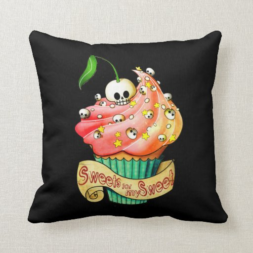 Sweet & Deadly  Skull Cupcake Pillow
