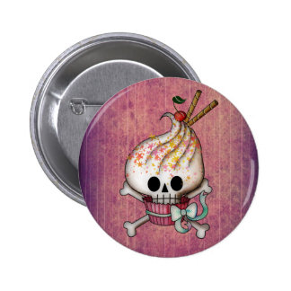 Sweet & Deadly  Skull Cupcake Pinback Button