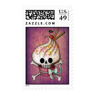 Sweet & Deadly  Skull Cupcake Postage Stamps