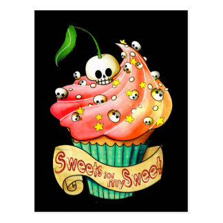 Sweet & Deadly  Skull Cupcake Postcard