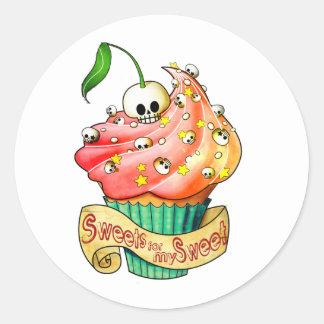 Sweet & Deadly  Skull Cupcake Round Sticker