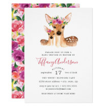 Sweet Deer Mom And Baby Floral Baby Shower Card