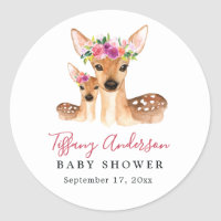 Sweet Deer Mom And Baby Floral Baby Shower Sticker