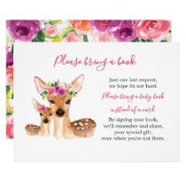Sweet Deer Mom And Baby Shower Book Card